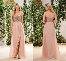 Wholesale Wedding Dresses Rose Skirt - Jasmine Rose Gold Sequind Bridesmaid Dresses Side Split A Line Chiffon Skirt Sweetheart Maid Of Honor Gowns Wedding Guest Party Dresses