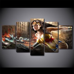 Wholesale Oil Painting 5pcs Woman - 5Pcs Set Framed HD Printed comics wonder woman Painting on canvas room decoration print poster picture canvas Free shipping ny-1417