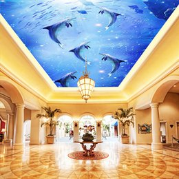 Wholesale Heat Roof - Custom 3D Photo Mural Watercolor Style Blue Sea Underwater World Dolphin Ceiling Roof Mural 3d Mural Wallpaper Ceiling Decor