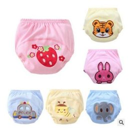 Wholesale Strawberry Girl Cover - Embroidered Baby Diapers 3 Layers Cotton Baby Boy Girl Infant Toilet Pee Potty Training Pants Terry Tiger Rabbit Strawberry Diaper Underwear