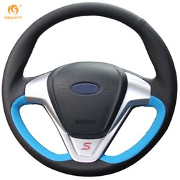 Wholesale Ford Ecosport - Mewant Blue Black Genuine Leather Car Steering Wheel Cover for Ford Fiesta 2008-2013 Ecosport 2013-2016