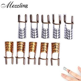 Wholesale Dual Form Nail Acrylic - Wholesale- 10pcs lot Gold Silver Aluminum Reusable Dual Guide Extention Forms UV Gel Acrylic French Tip Nail Tools Nail Art Equipment