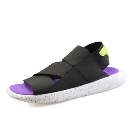 Wholesale Beach Lovers - Unisex Elastic Slip On Breathable Sandals Summer Flat Heel Casual Sandal Shoes Couple Beach Slippers Flip Flops Lovers Zapatos