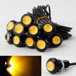 adleraugen gelbe lichter Rabatt 10x 9 Watt 12 V 24 V 18 MM LED Eagle Eye Light Auto Nebel DRL Tag Reverse Parking Signal Gelb Bernstein