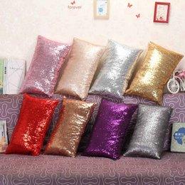 Wholesale Wholesale Glittered Linen - Sequins Pillowcase 30*50cm Bright Colorful Glitter Mermaid Pillow Case For Sofa Seat Cushion Cover Office Home Decor LJJO2848