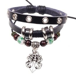 Wholesale Skull Colorful Bracelet - Men Women Punk Skull Bracelets Colorful Beaded Leather Alloy Charm Bracelets for Girls Perfect Christmas Gift