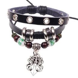 Wholesale Colorful Skull Bracelets - Men Women Punk Skull Bracelets Colorful Beaded Leather Alloy Charm Bracelets for Girls Perfect Christmas Gift