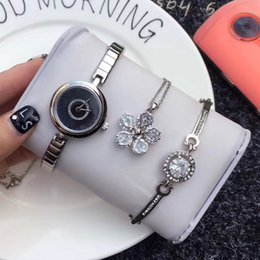 Wholesale Best Brand Necklace - 3 Sets dress ladies watch necklace bracelet luxury brand fashion Stainless Steel band quartz watches for women girls best gift relojes mujer