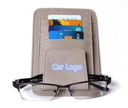 Wholesale Sunglasses Holder Clips - Car Style LOGO Lether Car Glasses Clips Sun Visor Sunglasses Eyeglasses Glasses Holder Clips Credit Card Package ID Storage Bags