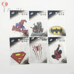 Wholesale Iron Heat Transfers Wholesale - 100pcs lot Avengers Spiderman Cartoon Individual DIY Iron Sticker Iron On Heat Transfer Glitter Stickers Free Shipping