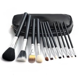 Wholesale Eyeshadow Brush Goat Hair - Makeup brushes set M Brand 12pcs Eyeshadow blusher brushes Makeup tools Professional Brush +leather bag with Free Ship + Free Gift