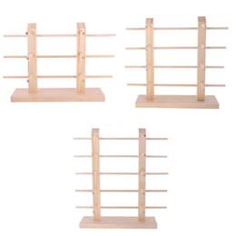 Wholesale Diy Display Rack - Natural 2-Row DIY Demountable Wood Sunglasses Display Stand Shelf Rack Glasses Frame Organizer 3 4 5 Layers
