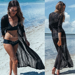 Wholesale Knitted Beachwear - Summer Lace Crochet Maxi Beachwear Cardigan Crochet Bikini cover ups Swimsuit Pareo Sexy Knitted Beachwear Bathing Suit