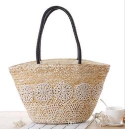 Wholesale Beach Bags Natural - Factory direct woman straw bag leisure Beach bag checking Crochet net woven handbags pastoral natural color straw hand bag