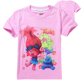 Wholesale Christmas Clothes For Children Wholesale - Trolls poppy T-shirt for girls cartoon children summer clothing 6 different style baby cute lovely t shirt tops