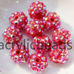 Wholesale Resin Rhinestone Paves Ball Beads - 20PCS Sparkling Acrylic Chunky Resin Rhinestone Pave Spacer Ball Bubblegum Crystal Diamond Beads for Jewelry Making 10*12MM 4 ROW