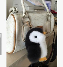 Wholesale Cute Penguin Plush Toys - New Pom Pom Mini Car Rex Cute Penguins key Chain 10 Colors Women Bag Fur Car Backpack Doll Pendant Fashion Toys Wallet Handbag Bag Pendant