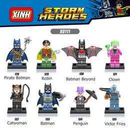 Wholesale Catwoman Action Figures - 8pcs lot Super Heroes Building Blocks Robin Batman Clown Catwoman Penguin Action Figures Building Blocks Bricks Children gift Toys X0111