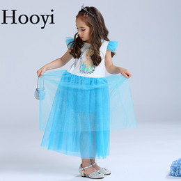 Wholesale Posh Outfits - Hooyi Blue Girls Dress Princess Children TUTU Dresses Yarn Posh Kids Wedding Full Dress Baby Girl Clothes Outfits 4-10Year