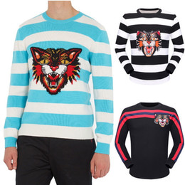 Wholesale Cat Sweater Xl - Contrast Color Striped Wool Sweaters Pullover Man Embroidery Cat Longsleeve Crew Neck Lightweigh Knit Jumper Male