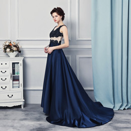 Wholesale Purple Satin Robes - Abendkleider Lang 2017 Prom Gowns Robe Longue Femme Soiree Sleeveless Dark Blue Satin Cap Sleeve Evening Long Dresses