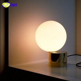 Wholesale Led Tables Bars - FUMAT Modern Simple Cafe Bedroom Dinning Room Bar Table Lamps White Glass Ball Table Lamp with Gold Base 210mm*300mm