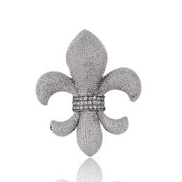 Wholesale Silver Plated Alloy Flower Brooches - 3.8*4.6CM Fleur De Lis Brooch Lily Flower Pin Wedding Bridesmaid Clear Rhinestones Fashion Jewelry