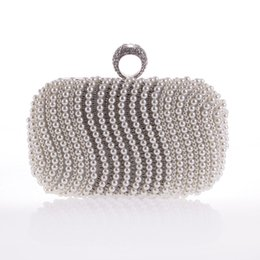 Wholesale Weding Bag - Women Evening Bag Ring Rhinestone Clutch Bags Weding Party Purse Sliver Diamond Handbags SMYXST-E0010