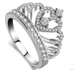 Wholesale Stainless Steel Gold Heart Ring - 2017 New Arrival Top quality 925 sterling silver Crown Band Ring for women set with flash crystal