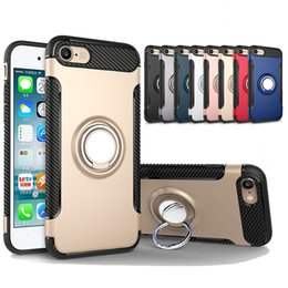 Wholesale Hybrid Kickstand Case - Hybrid TPU+PC Armor Case Shock-Proof Cases 360 Ring Stand Holder Magnetic Back Cover For iPhone 7 6S Plus Samsung S8 S7 Edge