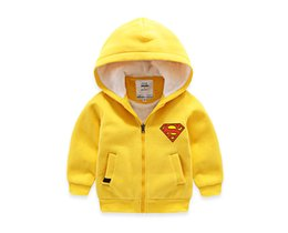 Wholesale Kids Superman Winter Coats - Gold Hands Fashion Baby Boy's Winter Warm Jacket Thicken Outdoor Clothes Superman print Cotton-padded Jacket Kids Coat With Hood Outwear