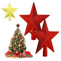 Wholesale Red Tree Topper - Wholesale- NICE XMAS Treasures Gold red Glittered Mini Star Christmas Tree Topper L45