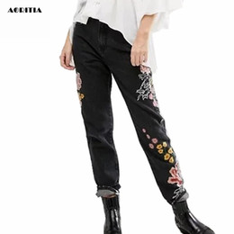 Wholesale Women Embroidery Jeans Wholesale - Wholesale- 2017 Woman Denim Embroidery Jeans Full Length Pants High Waist Black Jeans