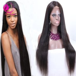 Wholesale Straight Brazillian Hair Brown - 100% brazillian virgin human hair silky straight Lace Front wig & glueless full lace wig for black women with baby hair bleached knots