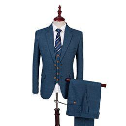 Último abrigo pantalón de lana de diseño Blue Herringbone retro caballero estilo hombres trajes de boda trajes de sastre chaqueta Blazer para hombres desde fabricantes