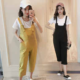 Wholesale Overalls Pregnant - Maternity Overalls Fashion Washed Cotton Loose Trousers Clothes for Pregnant Women Summer Pregnancy Bib Pants Jumpsuits