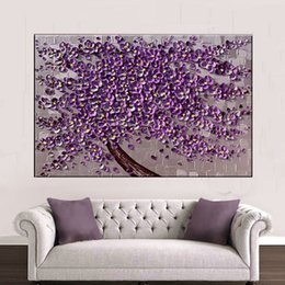 Wholesale Oil Paint Canvas Handmade - KG Purple Tree Textured Knife Paintings Abstract Wall Painting Impasto Acrylic Handmade Canvas Maple Leaves Art Oil Painting Home Decoration