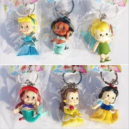 Wholesale Wholesale Snow White Doll - 2Set Princess Figures keychain Cute Q Snow White Bella Cinderella tinkerbell Jasmine Mermaid Toys Doll For Girl 5cm Free Shipping