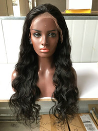 Wholesale Sexy Long Black Wig - Natural Color Indian hair Lace Front Wig Glueless Long Sexy Wavy Front Lace Wigs 100% Human Hair 1b wigs For Black Women