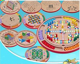 Wholesale Chinese Flying Toys - 10 in 1 Wood Set-Flying Chess Chinese Checkers Gobang Animal Checkers Snakes and Ladders Single Noble The Fox and Goose