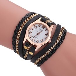 Wholesale Purple Hand Mirror - 2017 new explosion-proof marble mirror diamond-studded women's bracelet table hand-woven three laps winding quartz movement watch