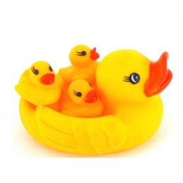 Wholesale Toy Yellow Soft Duck - Wholesale- 4pcs set Cute Soft Plastic Yellow Duck Baby Bath Shower Toys Squeeze Sound Educational Mother and Baby Swimming Toy ZS011