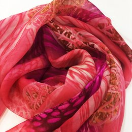 Wholesale Fabric Scarf Patterns - 100% Red silk fabric natural scarf shawl embroidery Flower pattern scarves gorgeous Free shipping