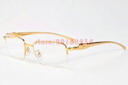 Wholesale Leopard Fashion Glasses - 2017 Men Women Rimless Glasses Metal Gold Leopard Designer Buffalo Horn Sunglasses Frames Retro Sunglasses With Original Boxes Free Shipping