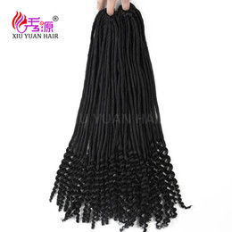 Wholesale Vip Hair Extensions - Xiuyuan 20''Havana Mambo Faux Locs Synthetic Braiding Hair Extensions Noir Afro Twist Braids Soft Dread Locs Braid Vip Beauty Hair Curly