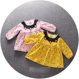 Wholesale Wholesale American Baby Doll - Toddler kids Autumn Winter dress Baby girls velvet polka-dots pleated dress Infant pompons doll collar long sleeve dress Kids clothing C1781