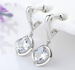 Wholesale Wholesale Stud Screw Back Earrings - New 925 sterling silver Korea earrings for women crystal clip on ear studs earring Jewelry Accessories Luxury top qualtity Ear Cuff