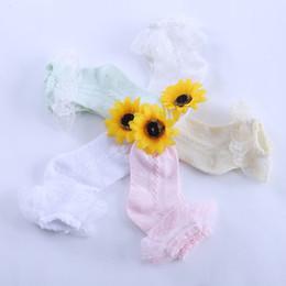 Wholesale White Socks Ruffles - Wholesale-Summer Children Retro Style Lace Ruffle Frilly Ankle Short Socks Ladies Princess Girl Cotton Breathable Thin Socks 2641