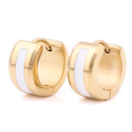 Wholesale Wholesale Wide Hoop Earrings - Wholesale- 7mm Wide Two Colors 316L Stainless Steel Hoop Earrings for men women wholesale Rock oil painting earrings