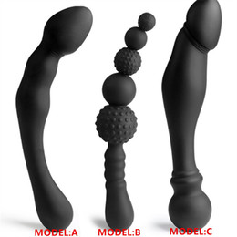 Wholesale Male Double Anal - NEW 3 Styles Manual Black Big Pull Beads Anal Plug Silicone Dildo Anal Double Head Butt Plug Sex Toys For Gay Men